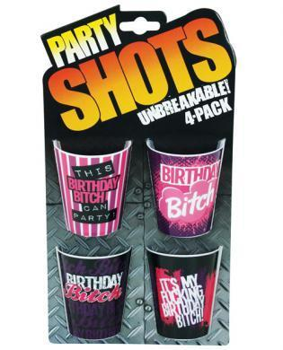 Party shots birthday bitch - asst. pack of 4 unbreakable - Romance Keeper