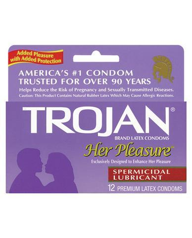 Trojan her pleasure spermicidal lubricant condoms - box of 12 - Romance Keeper