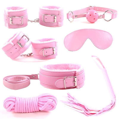 7PCS Handcuffs Whip Collar mouth gag Adult Game Toy for couples Leather Fetish Bondage Restraint Wedding Party Favor Decoration - Romance Keeper