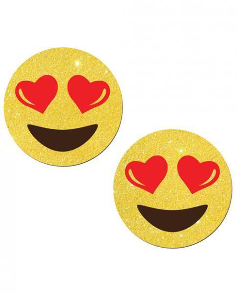 Yellow Glitter Emojis with Heart Eyes - Romance Keeper
