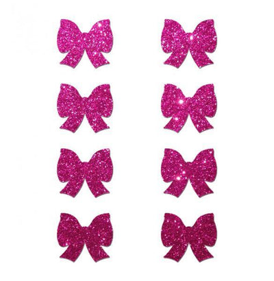 Pastease Mini Glitter Bows Hot Pink Pack Of 8 - Romance Keeper