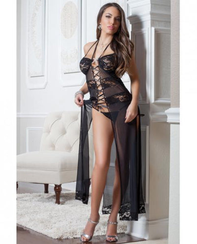 Lace Mesh Gown Lace-Up Front & Thong Black O/S - Romance Keeper