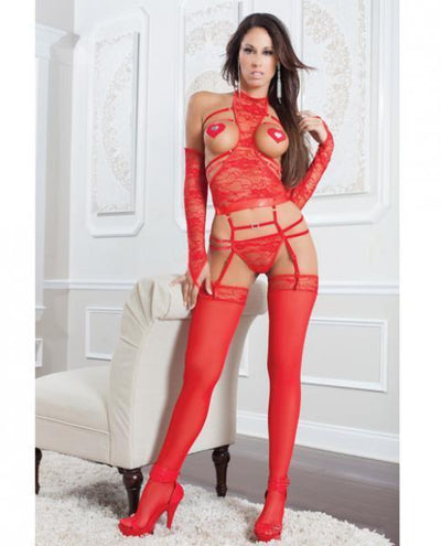 X-Rated Strappy Lace Teddy, Gloves, Stockings & Pasties Red O/S - Romance Keeper