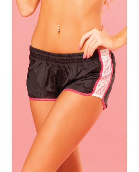 Pink Lipstick Sweat Sequin Running Short W/built In Panty & Draw String Closure Black Lg - Romance Keeper