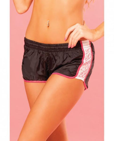 Pink Lipstick Sweat Sequin Running Short W/built In Panty & Draw String Closure Black Md - Romance Keeper