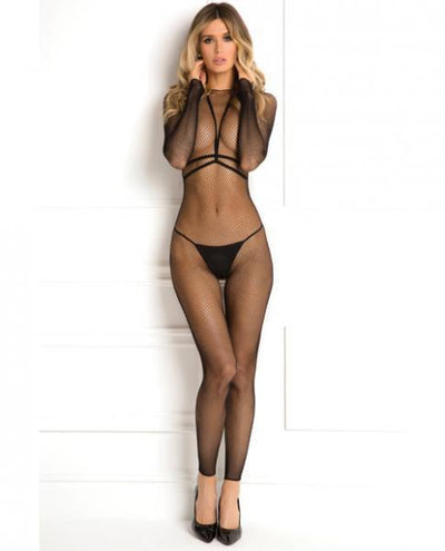 Rene Rofe Bodystocking Conversation Harness Set Black M/L - Romance Keeper