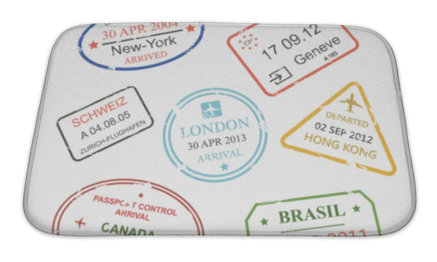 Bath Mat, International Business Travel Visa Stamps Set - Romance Keeper