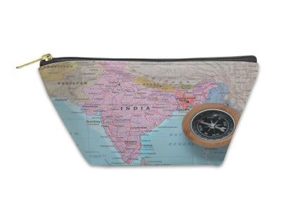 Accessory Pouch, Travel Destination India Map With Compass - Romance Keeper