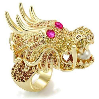 LO1477 - Brass Ring Imitation Gold Women Synthetic White - Romance Keeper