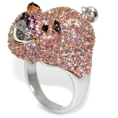 LO1509 - Brass Ring Rhodium + Ruthenium + Rose Gold Women AAA Grade CZ Multi Color - Romance Keeper