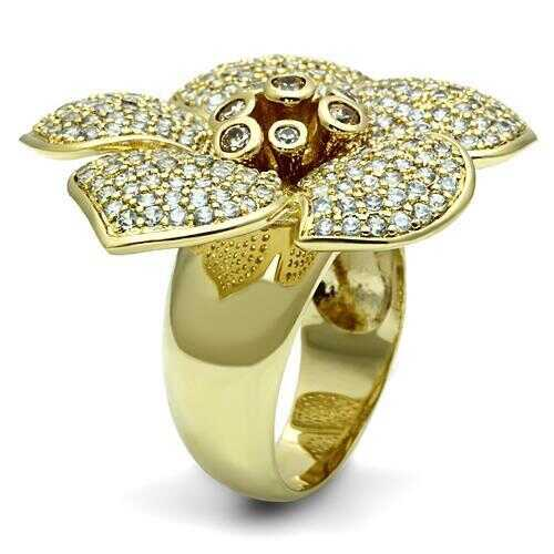 LO2484 - Brass Ring Gold Women AAA Grade CZ Champagne - Romance Keeper