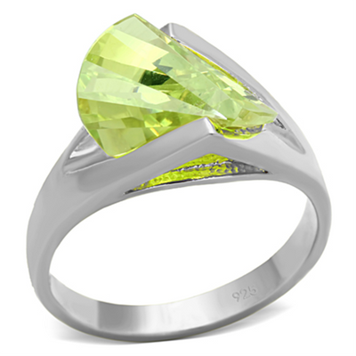LOS646 - 925 Sterling Silver Ring Silver Women AAA Grade CZ Apple Green color - Romance Keeper