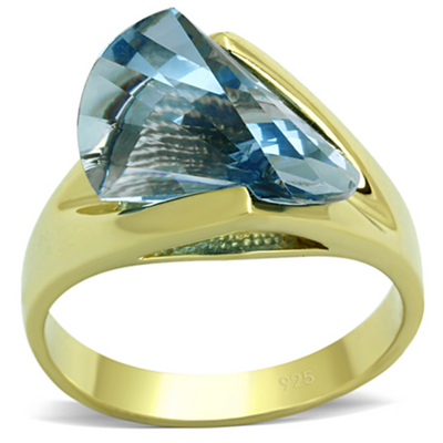 LOS653 - 925 Sterling Silver Ring Gold Women Synthetic Sea Blue - Romance Keeper