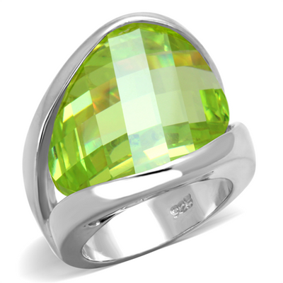 LOS832 - 925 Sterling Silver Ring Rhodium Women AAA Grade CZ Apple Green color - Romance Keeper