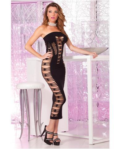 Pink lipstick seamless slit tube dress black o/s - Romance Keeper