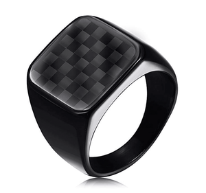 Tzvi- Men's Signet Carbon Fiber Ring - TheJewelryGeek