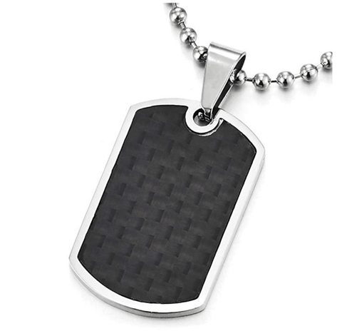 Pinye- Men's Dog Tag Carbon Fiber Necklace - TheJewelryGeek