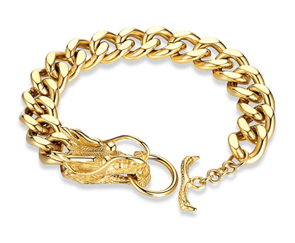 Dothan- Rugged Men's Dragon Head Bracelet in Gold and Silver - TheJewelryGeek