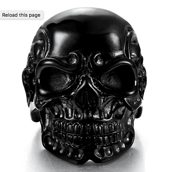 Adagio- Rugged Men's Black Skull Punk Ring - TheJewelryGeek