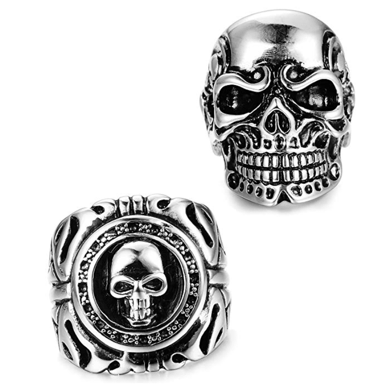Jagger- Pack of 2 Men's Silver Skull Rings - TheJewelryGeek