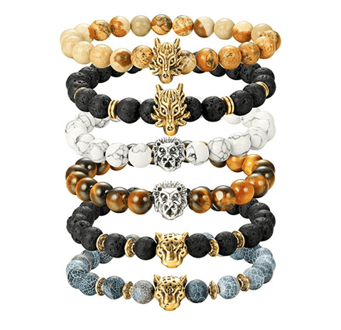 Elnatan- Pack of 6 Men's Elastic Animal Head Bracelets - TheJewelryGeek