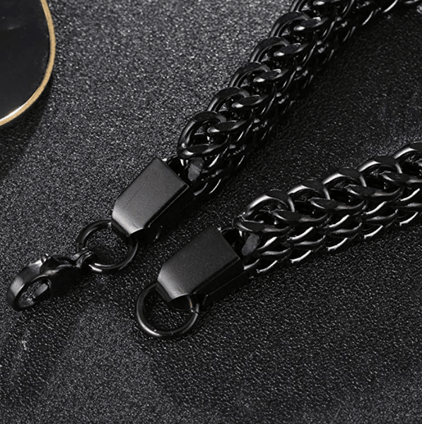 Men's Classic Black and Gold Chain 925 Bracelet - TheJewelryGeek
