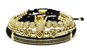 Men's 3 Piece Crown Gold Bracelets
