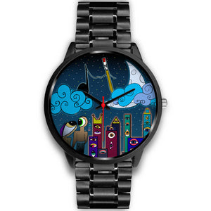 Eye Luv Yew and Art Black Metallic Watch