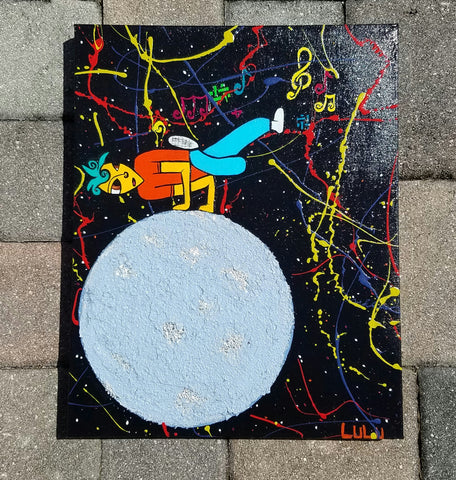 Take it to the Moon Mixed Media Painting on Gallery Wrapped Canvas
