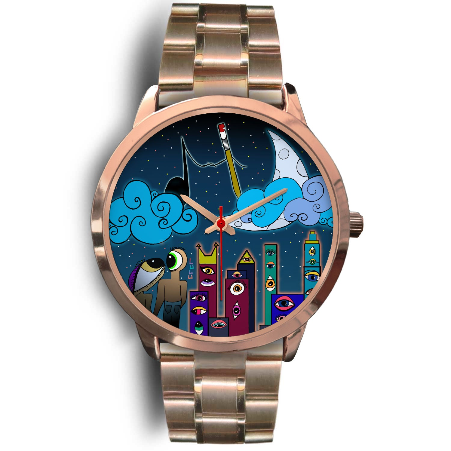 EYE LUV ART AND YEW ROSE GOLD WATCH