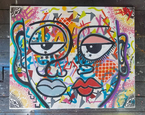 """Nosotros"" Original Painting on Wood Panel"