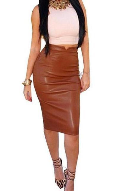 Vegan Leather Pencil Skirt - missee