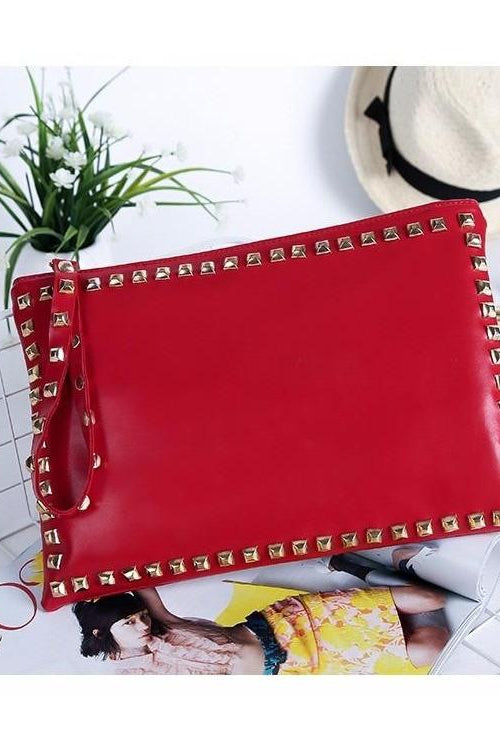 Vegan Leather Studded Clutch