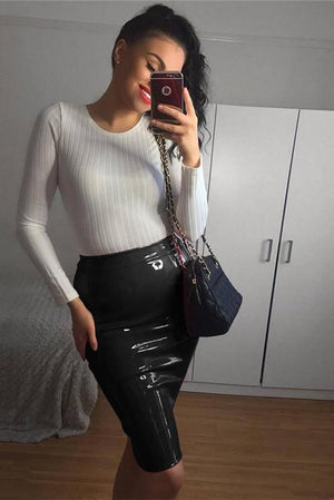 Shiny Vegan Leather Skirt - missee