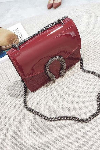 Patent Vegan Leather Horseshoe Bag