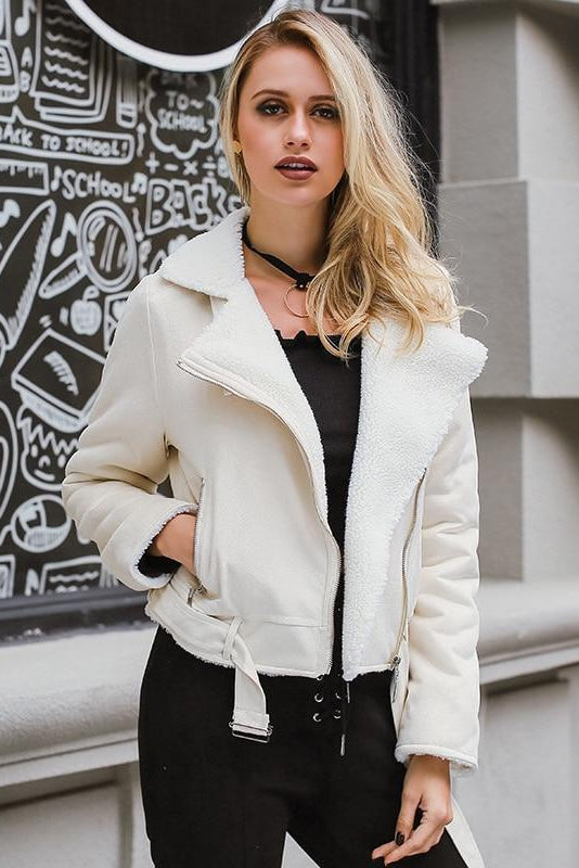 Vegan Leather and Shearling Pilots Jacket