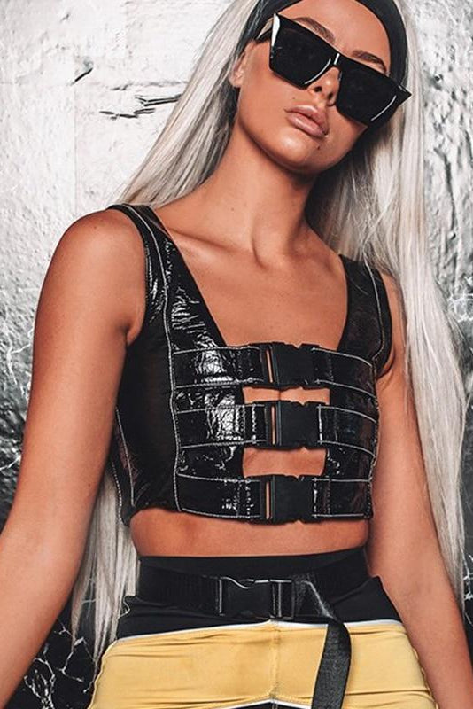 Buckle Up Vegan Leather Top