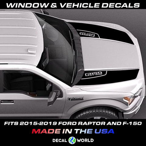FORD F-150 & Raptor Hood Graphics 2015-2019 - Ford Racing Stripe Decals (#202)