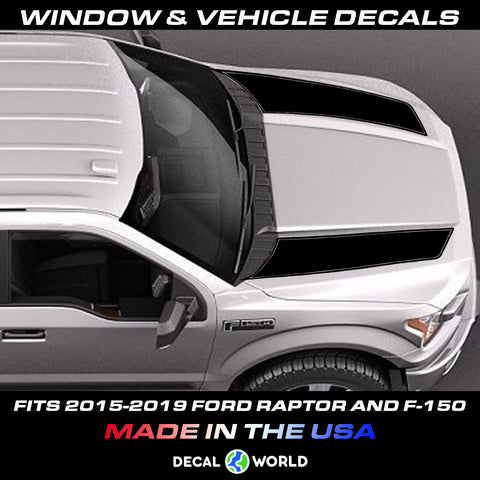 FORD F-150 & Raptor Hood Graphics 2015-2019 - Ford Racing Stripe Decals (#203)