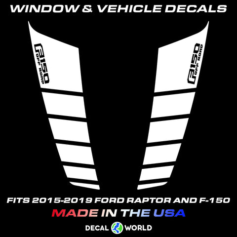 FORD F-150 & Raptor Hood Graphics 2015-2019 - Ford Racing Stripe Decals (#204)