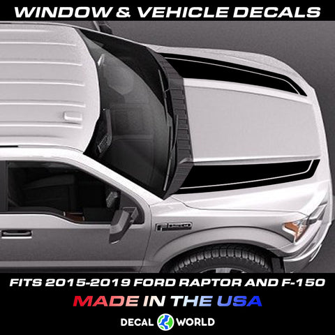 FORD F-150 & Raptor Hood Graphics 2015-2019 - Ford Racing Stripe Decals (#201)