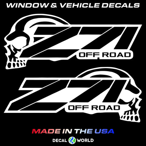 Chevy GMC Z71 OFF ROAD SKULL Bedside Decal