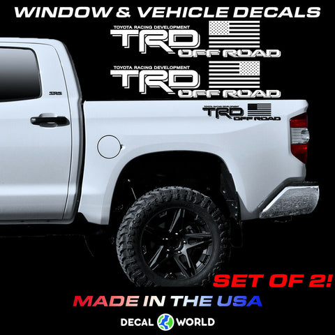 Toyota Tundra/Tacoma TRD American Flag Off Road Bed Side Decals - Pair (2)