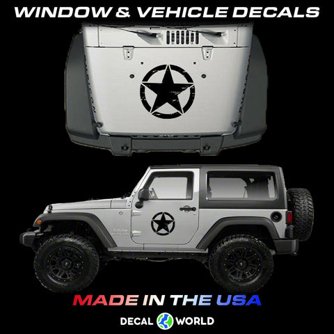Military Star Weathered Star Graphics Kit for Jeep Wrangler Rubicon CK CJ Decals