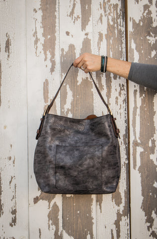 Gray/Brown metallic hobo bag