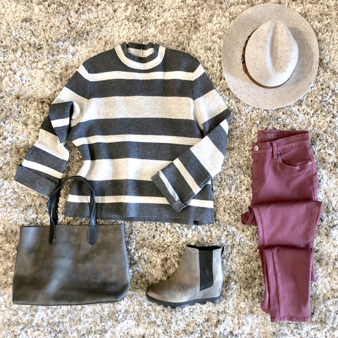 Fall Outfits we Love: Striped Sweaters & Colored Denims