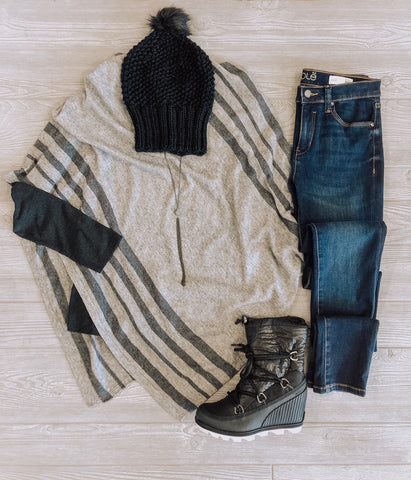Sweater Poncho Outfits with Stretch Denim & Sorel Wedge Boots