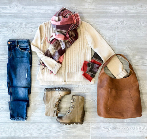 Fall Outfits: Sweaters, Denims, and Handbags