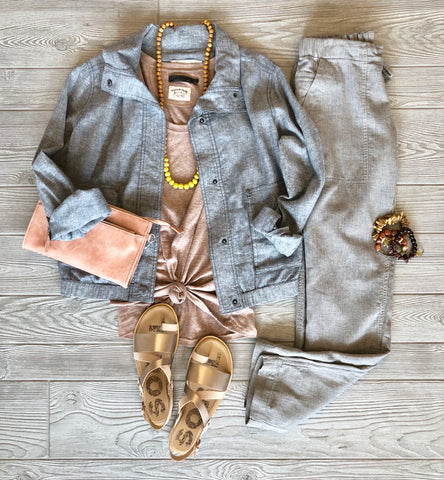 Spring Style: Chambray Jackets & Flowy Pants