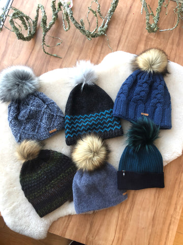 Winter Beanies: Knit Pom Top Beanie with Fleece Lining
